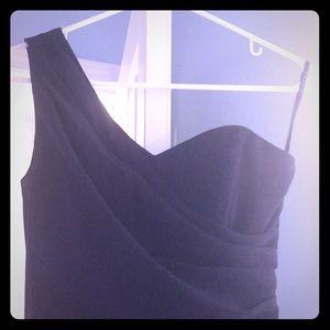 One strap long Navy bridesmaid dress.
